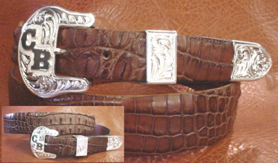 Brown Hornback Crocodile with Standard End Bar Set