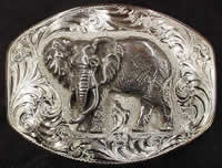 Custom Motifs 'End of The Trail' & 'African Elephant' Belt Buckles
