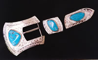 Turquoise Ranger Belt Buckle Set